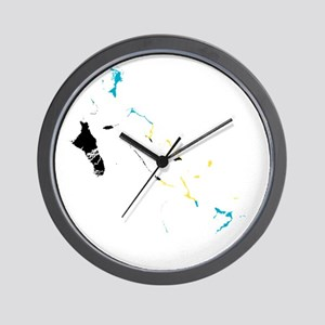 Bahamas Flag and Map Wall Clock
