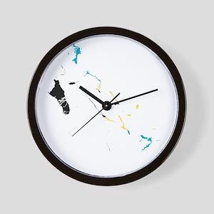 Bahamas Flag and Map Wall Clock