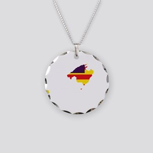 Balearic Islands Flag and Map Necklace Circle Char