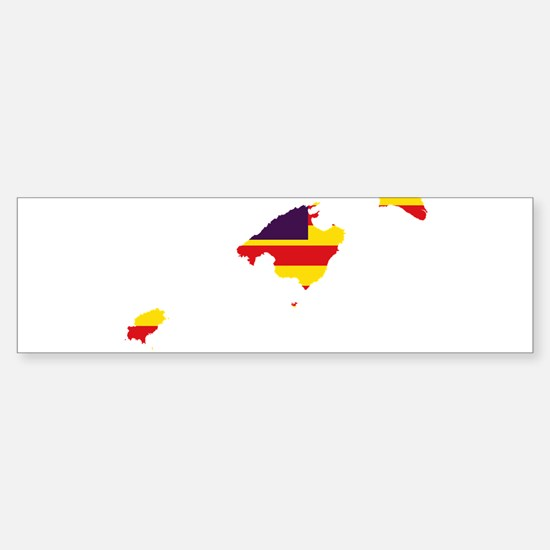 Balearic Islands Flag and Map Sticker (Bumper)