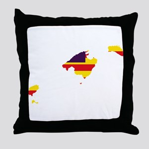 Balearic Islands Flag and Map Throw Pillow