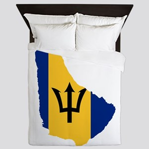 Barbados Flag and Map Queen Duvet