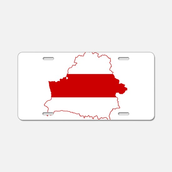 Belarus Flag and Map Aluminum License Plate