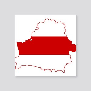 """Belarus Flag and Map Square Sticker 3"""" x 3"""""""