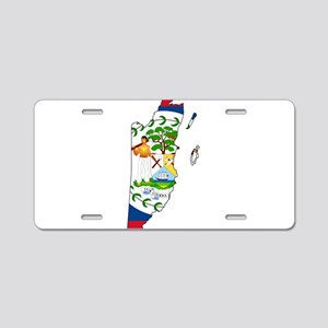 Belize Flag and Map Aluminum License Plate