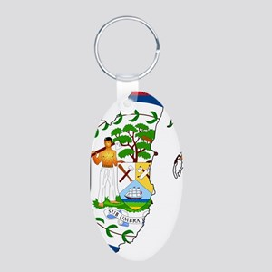 Belize Flag and Map Aluminum Oval Keychain