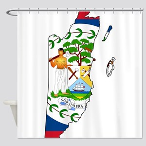Belize Flag and Map Shower Curtain