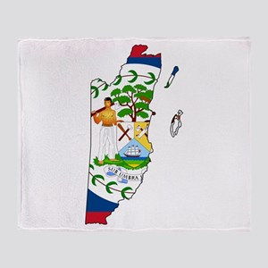 Belize Flag and Map Throw Blanket