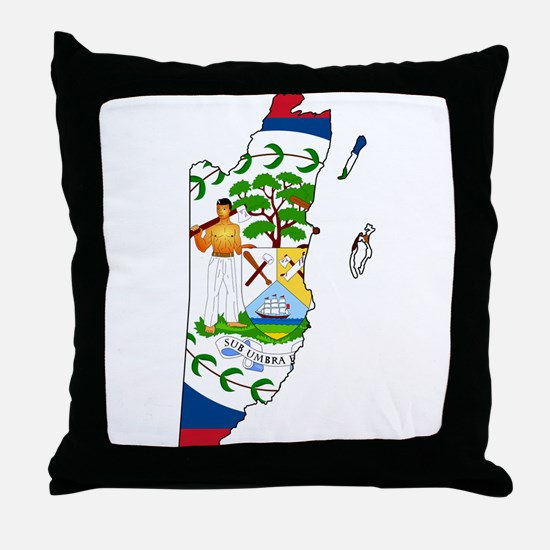Belize Flag and Map Throw Pillow