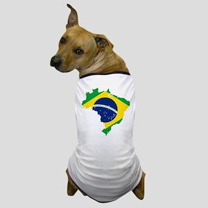 Brazil Flag and Map Dog T-Shirt