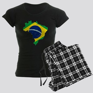 Brazil Flag and Map Women's Dark Pajamas