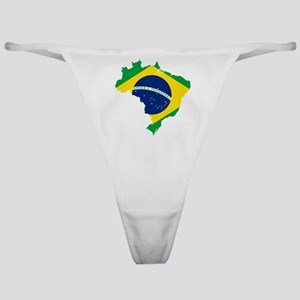 Brazil Flag and Map Classic Thong