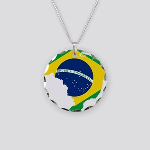 Brazil Flag and Map Necklace Circle Charm