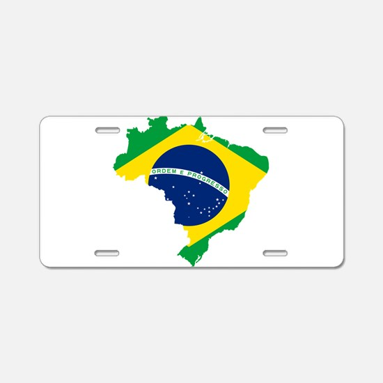 Brazil Flag and Map Aluminum License Plate