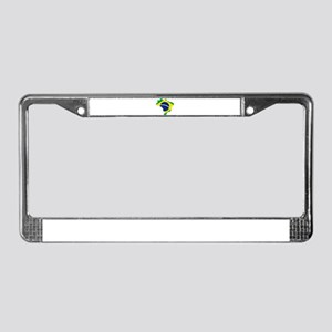 Brazil Flag and Map License Plate Frame