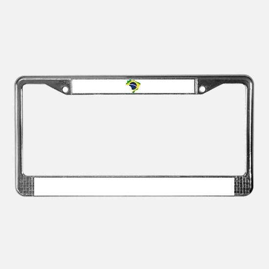 Brazil Flag and Map License Plate Frame