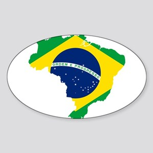 Brazil Flag and Map Sticker (Oval)
