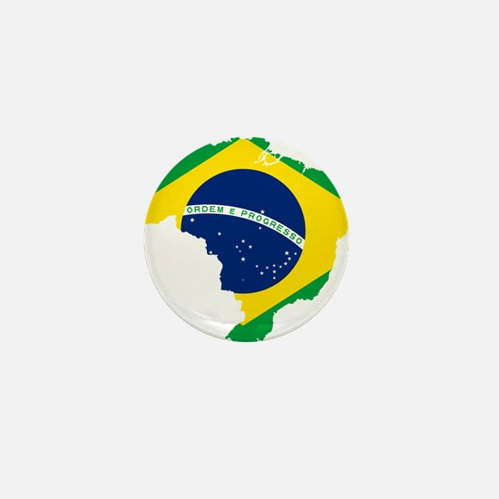 Brazil Flag and Map Mini Button