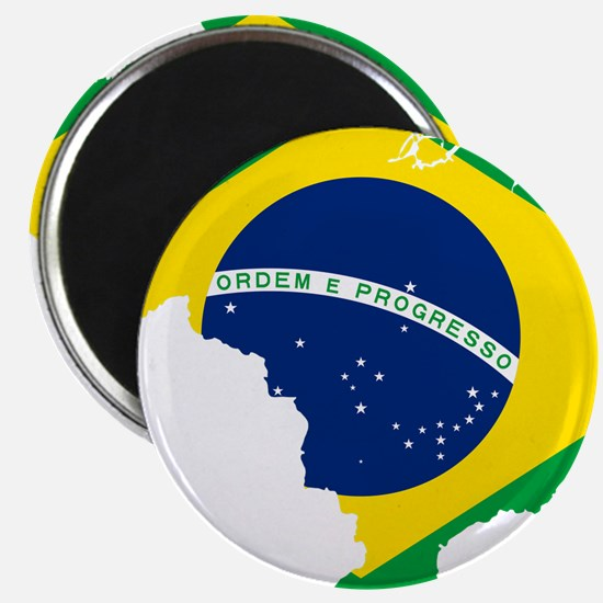 "Brazil Flag and Map 2.25"" Magnet (10 pack)"
