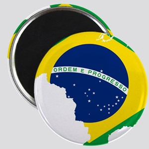 Brazil Flag and Map Magnet