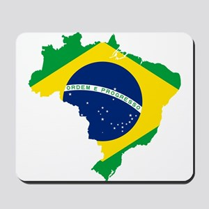 Brazil Flag and Map Mousepad