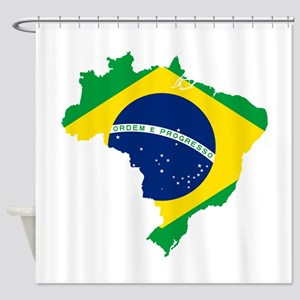 Brazil Flag and Map Shower Curtain