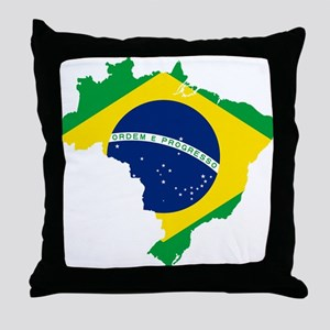Brazil Flag and Map Throw Pillow
