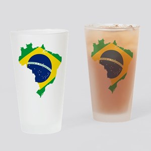 Brazil Flag and Map Drinking Glass