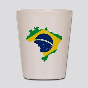 Brazil Flag and Map Shot Glass