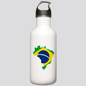 Brazil Flag and Map Stainless Water Bottle 1.0L