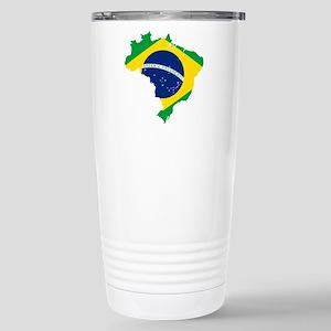 Brazil Flag and Map Stainless Steel Travel Mug