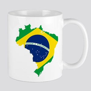 Brazil Flag and Map Mug
