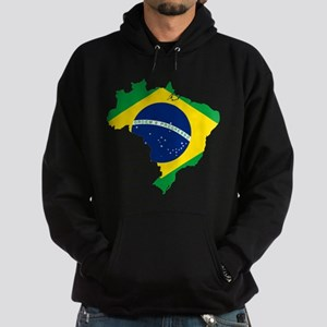 Brazil Flag and Map Hoodie (dark)