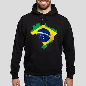 Brazil Flag and Map Hoodie (dark)