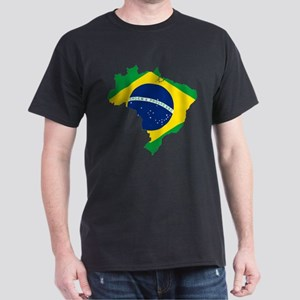 Brazil Flag and Map Dark T-Shirt
