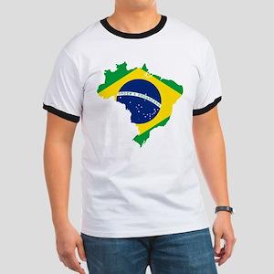 Brazil Flag and Map Ringer T