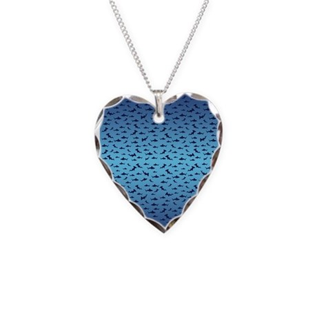 Hammerhead Sharks/Jaws Necklace Heart Charm
