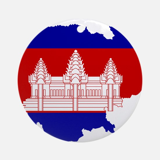 Cambodia Flag and Map Ornament (Round)