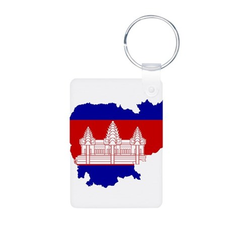Cambodia Flag and Map Aluminum Photo Keychain