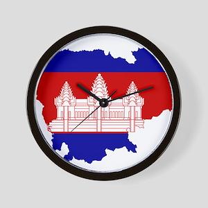 Cambodia Flag and Map Wall Clock
