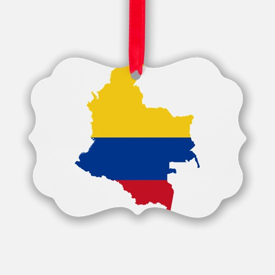 Colombia Civil Ensign Flag and Map Ornament