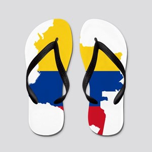 Colombia Civil Ensign Flag and Map Flip Flops