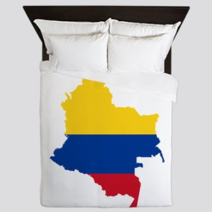 Colombia Civil Ensign Flag and Map Queen Duvet