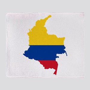 Colombia Civil Ensign Flag and Map Throw Blanket
