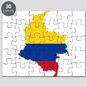 Colombia Civil Ensign Flag and Map Puzzle