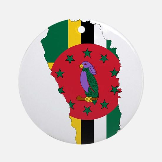 Dominica Flag and Map Ornament (Round)