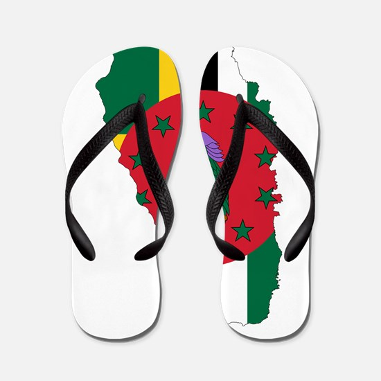 Dominica Flag and Map Flip Flops