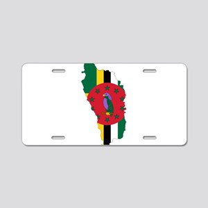 Dominica Flag and Map Aluminum License Plate