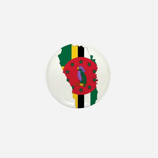 Dominica Flag and Map Mini Button