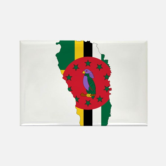 Dominica Flag and Map Rectangle Magnet